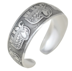 B-0828 Fashion Vintage Silver Plated Caving Bangle Wide Cuff Bracelet can be Adjustable