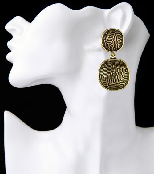 E-3929 Bohemian Fashion Silver Bronze Indian Style Vintage Geometry Shape Earrings For Women Jewelry