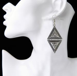 E-3932 Vintage Retro Style Gold Silver Platde Alloy Triangle Shape Dangle Drop Hook Earrings For Women Accessory
