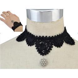 N-6576 Lace set Amazing Elegant Black Lace Belt SIlver Flower Pendant Choker Bracelet Necklaces Set