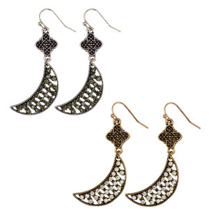 E-3934 Bohemian Fashion Vintage Silver/Gold Indian Style Flower Moon Shape Rhinestone Hook Earrings For Women Jewelry