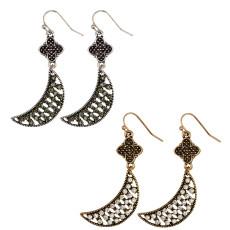 E-3934 Bohemian Fashion Vintage Silver/Gold Indian Style Flower Moon Shape Rhinestone Hook Earrings For Women Jewelry
