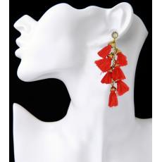E-3937 4 Colors Fashion Handmade Exaggerated Long Drop Earring Crystal Gemstone Tassel  Earrings