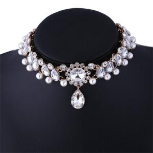 N-6580 European Luxury Elegant Silver Gold Choker Inlay Pearls Crystal Rhinestone Flower Statement Trendy Waterdrop Shape Pendant Necklace Jewelry