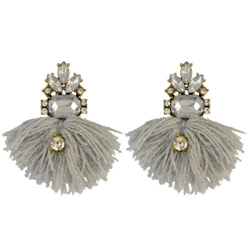 E-3939 Luxry Drop Earrings Shine AAA Zircon Crystal Dangle Stud Tassel Earring 4 Colors