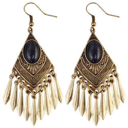 E-3942 Bohemian Silver Gold Fashion Earring Inlay Gem Tassels Earrings For Women Jewelry