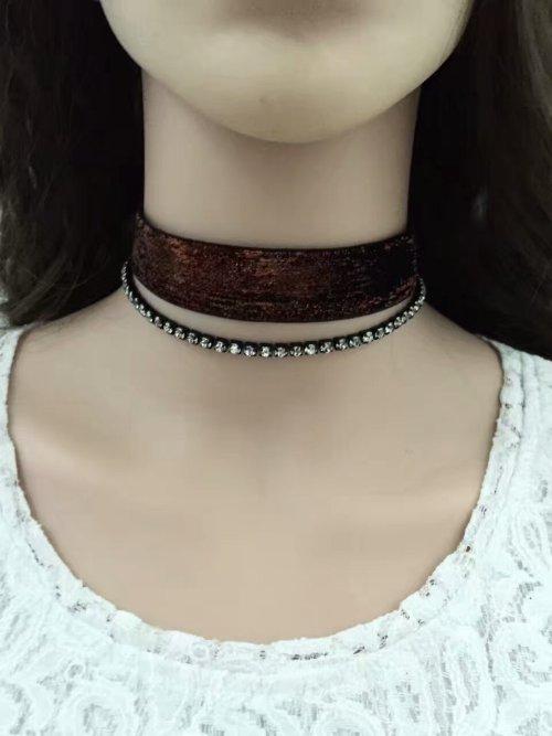N-6581 2Pcs/set Necklace Jewelry Set Neckband Choker Rhinestone Crystal Necklace for Women