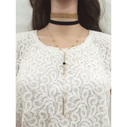 N-6579 Gold Fashion Chain Necklace  Crystal Rhinestone Pendant & Necklace for Women Jewelry with Black Choker Necklace