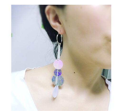 E-3941 Hot Sale Women's Long Earrings Silver Plated Alloy Chain Tassel Fringe Shiny Plates Dangle Drop Earrings Fashion Jewelry