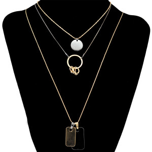 N-6583 3 Pcs/set Vintage Fashion Gold plated Chain Coin Pendant Choker Necklaces For Women Girls Jewelry