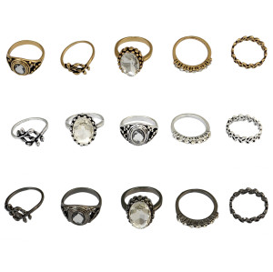 R-1424 5Pcs/Set Bohemian Vintage Style Alloy Ring Crystal Rhinestone Knuckle Nail Midi Rings Jewelry