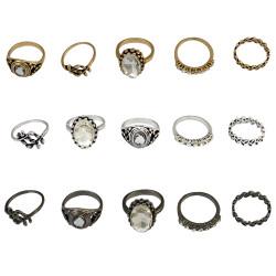 R-1424 5Pcs/Set Bohemian Vintage Style Alloy Ring Crystal Rhinestone Knuckle Nail Midi Rings Jewelry