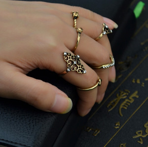 R-1425 6Pcs/Set Bohemian Vintage Style Alloy Ring Crystal Rhinestone Knuckle Nail Midi Rings Jewelry for Women