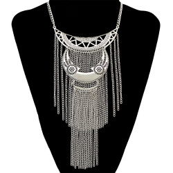 N-6584 Bohemian Silver Fashion Necklace Carved Hollow Out Moon Shape Rope Chain Tassels Pendant Necklaces Jewelry