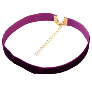N-6587 Fashion Vintage Antique Necklace Choker Wide Purple Solid Velvet Necklaces for Women