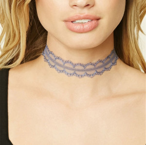 N-6591 3 Colors Punk Gothnic Style Lace Flower Shape Choker Necklace Short Calvicle Fashion Necklace Women Jewelry