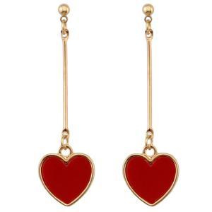 E-3950 Korea Style Gold Plated Red Acrylic Heart Dangle Earrings