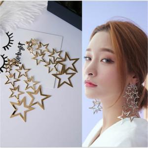 E-3951 Fashion Retro Long Metal Hollow Multiple Five-pointed Star Irregular Stars Earring Stud for Women
