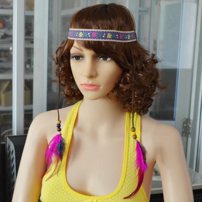 F-0381 Bohemian Handmade Embroidery Flower Elastic Rope Chain Wooden Beaded Feather Tassel Headdress Hairband Women Jewelry