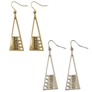 E-3952 Korean Simple Geometric Triangle Earrings Long Personality Drop Dangle Hook Earring