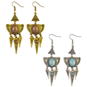 E-3953 Fashion Retro Drop Dangle Hook Earrings Exaggerated Alloy Gemstone Triangle Tassels Earring for Lady