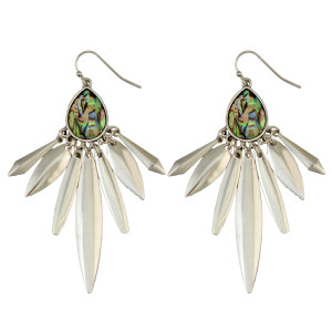 E-3949 Fashion Bohemian Vintage Silver Plated Carving Drop Shape Dangle Earrings For women Jewelry