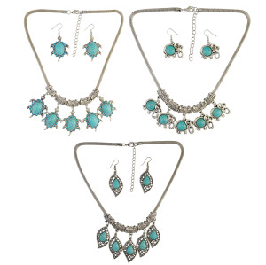 N-6608 Bohemian Turkish Ethnic Inlay Rhinestone Turquoise Tortoise /Leaf/Elephant Shape Pendant Necklaces Earrings For Women Set Jewelry