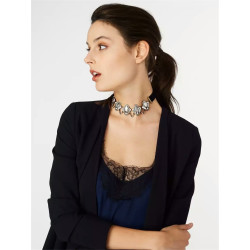 N-6611 Fashion Collar Bib Neckchain Geometry Diamond Shape Crystal Rhinestones Short Chain Necklace  2 Colors