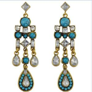 E-3956 Bohemian Amazing Vintage Bronze Geometry Crystal Drop Cute Tuiquoise Charms Heavy Dangle Earrings