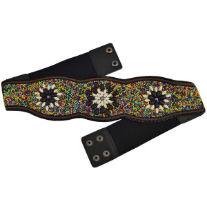 N-6613 Bohemian Fashion Vintage Charm  Belt Belly Chain Inlay Imitation Turquoise Resin Beads Elastic Adjustable Waist Belly Chain Body Jewelry