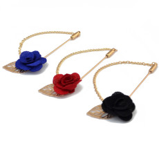 P-0352 Cloth Rose Flowers Corsage Men's Brooches Suit Jacket Accessories Brooch Pin with Chain Marry Jewelry 3 Colors
