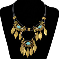 N-6615 Bohemian Fashion Gold Silver Alloy Inlay Natural Turquoise Rhinestone Choker Necklace Leaf Tassels Statement Necklaces Women Jewelry