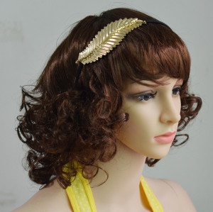 F-0383 New Design Fashion Hairband Leaf Shape Inlay Crystal Alloy Hair Jewelry for Girl Hair Accessories