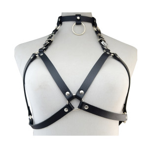 N-6614 New Design Punk Style Black Pu Leather Sexy Bondage Straps Bra Body Harness Queen Lingerie Belt Body Chain Women Body Jewelry
