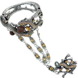 B-0709  Hot Sale Retro Vintage Sterling  Silver Gemstone Long Tassel Chain  Bracelet with Lovely Small gecko shape Bracele Jewelry