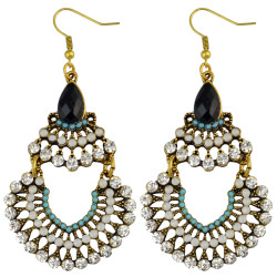 E-3587 New Fashion Bohemia Gold Plated Multicolor Rhinestone & Resins Beads Large Dangling Earrings For Women Jewelry