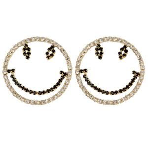 E-3954 New arrival Cute Round Shape Simale Face Inlay Rhinestone Dangle Drop Earrings Women & Girls Jewelry