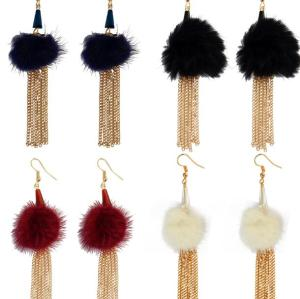 E-3958 Fashion Gold Plated Long Tassel Fur Resin Beads Dangle Earrings for Women &Girl 's Jewelry