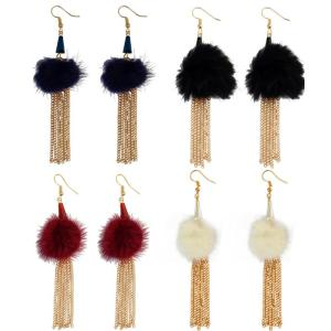 E-3958 Fashion Gold Plated Long Tassel Fur Resin Beads Dangle Earrings for Women &Girl 's Jewelry