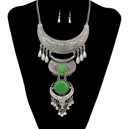 N-6634 Bohemian Carved Flower Silver Alloy Moon Shape Resin Gem Crystal Rhinestone Cattle Head Tassel Long Necklace Earrings Set For Women Jewelry