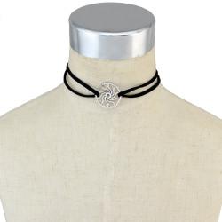 N-6629 Hot Sale Black Velvet Leather Chain Silver Sun Shape Decoration Choker Short Clavicle Necklaces Women & Girls Jewelry