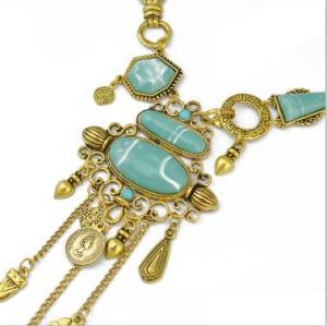 N-6642-S *  Bohemian Silver Gold Fashion Necklace Inlay Irregular Geometry Blue Gem Coin Leaf Tassel Necklace Women Jewelry