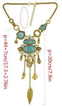 N-6642 Bohemian Silver Gold Fashion Necklace Inlay Irregular Geometry Blue Gem Coin Leaf Tassel Necklace Women Jewelry