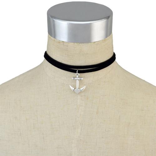 N-6639 Black Velvet Double Chain Anchor Pendant Choker Necklace