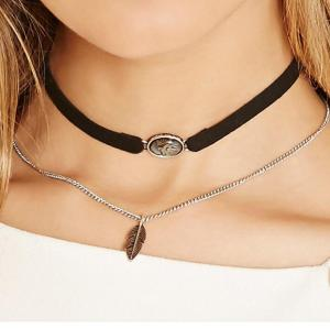 N-6535 2 Pcs/set Fashion Lace Metal Stitching Collar Necklace Leaf Pendants for Women Jewelry