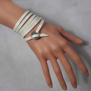 B-0834 3Colors Fashion Silver Alloy Leather Bracelet  Unisex Bracelets For Women Jewelry