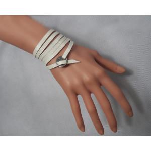 B-0834 3Colors Fashion Silver Alloy Leather Bracelet  Unisex Bracelets For Women Jewelry