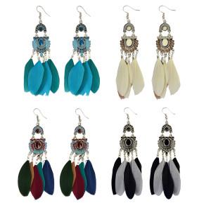 E-3963 Bohemian Vintage Tassel Feather Drop Earring Hook Earrings 4 Colors