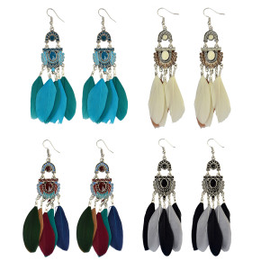 E-3963 Bohemian Vintage Tassel Feather Drop Earring Hook Earrings 4 Colors