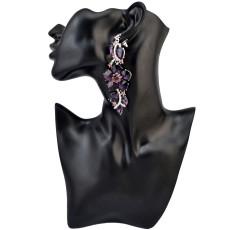 E-3964 Luxury Fashion 4 Colors Flower Shape Inlay Rhinestone Crystal Shiny Dangle Drop Earrings Women & Girls Accessory